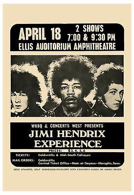 Jimi Hendrix Experience at Memphis Ellis Auditorium Theatre Concert Poster 1969