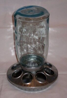 Small Glass Jars Bulk (VTG Galvanized Small Chicken/Bird Feeder Green Glass 1858 Mason Jar 1)