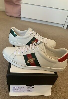 Gucci Bee Ace Sneakers Trainers Mens White Leather Size 9 100%original