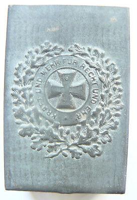 Vintage German Metal Matchbox Holder Iron Cross
