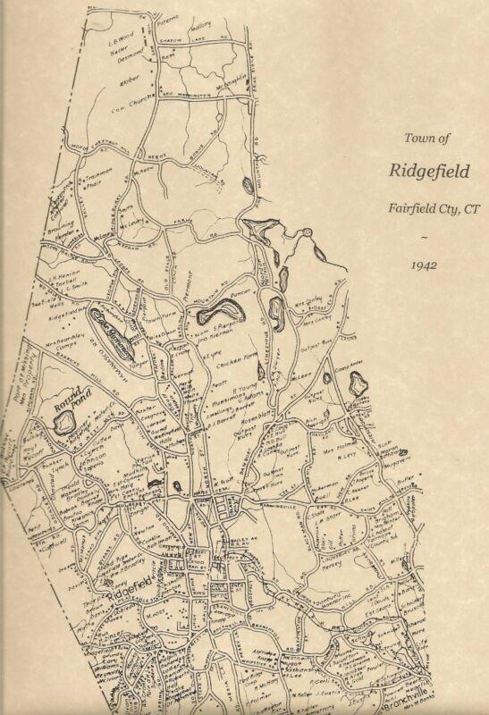 Ridgefield Branchville Ridgebury CT 1942  Map with Homeowners Names Shown