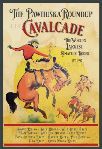 Pawhuska OK Cavalcade Rodeo 12x18-  VINTAGE-  RODEO POSTER