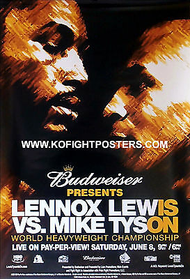 MIKE TYSON vs. LENNOX LEWIS / Original Budweiser Fight Sponsors Boxing Poster