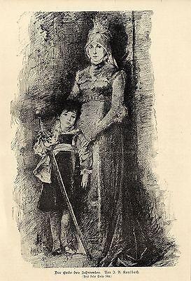 J.A.Kaulbach ( Der Erbe des Schwertes ) Hochzstich Graphik von 1901