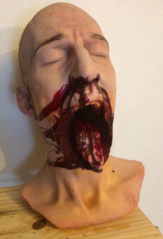Male Mutilated Gore Head Horror Film Prop Halloween