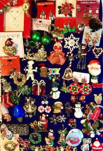 60 Christmas Brooch Earring Designer Jewelry Lot Avon Marcie USA BJ JJ AJMC Gerr