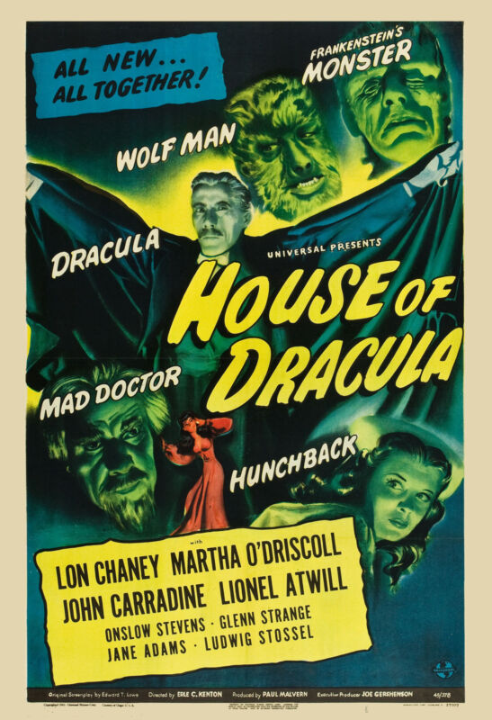 Universal Horror: * House of Dracula  * Movie Poster Release 1945