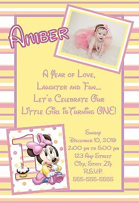 Minnie Mouse First 1st Birthday Invitations Pink 8 pk Personalized - Minnie Mouse 1st Birthday Invitations
