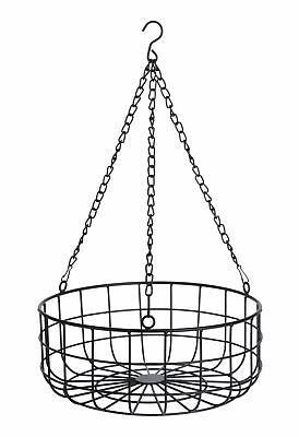 Runder Hängekorb 30cm - schwarz - Aufbewahrungskorb Metall Deko Draht Korb Küche
