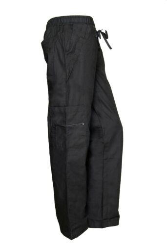 Womens Black Nursing Cargo Pocket Scrub Pants with Zipper Trim