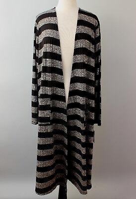 XL LuLaRoe Sarah Black with Gray Stripes Very Stretchy Duster Cardigan Stunning