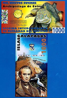 Galapagos Islands 1000 Sucres Date 2011 Charles Darwin Polymer Free Shipping