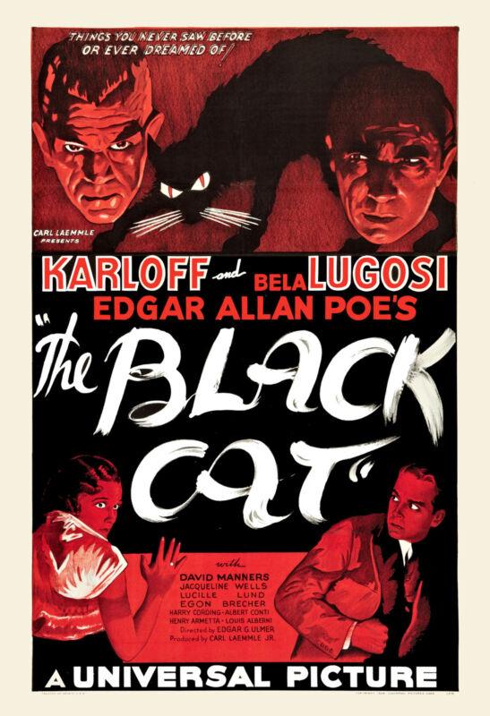 Horror: * The Black Cat * Boris Karloff & Bela Lugosi  Movie Poster 1934