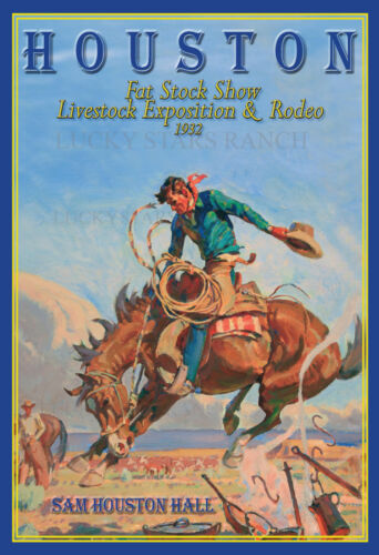 Houston Rodeo Cowboy 1932 Rodeo Print Poster