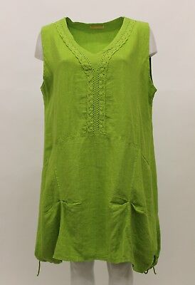 LA BASS WOMEN'S SPRING SUMMER LINEN SLEEVELESS TANK TUNIC LIME PLUS SIZE 2, used for sale  Los Angeles