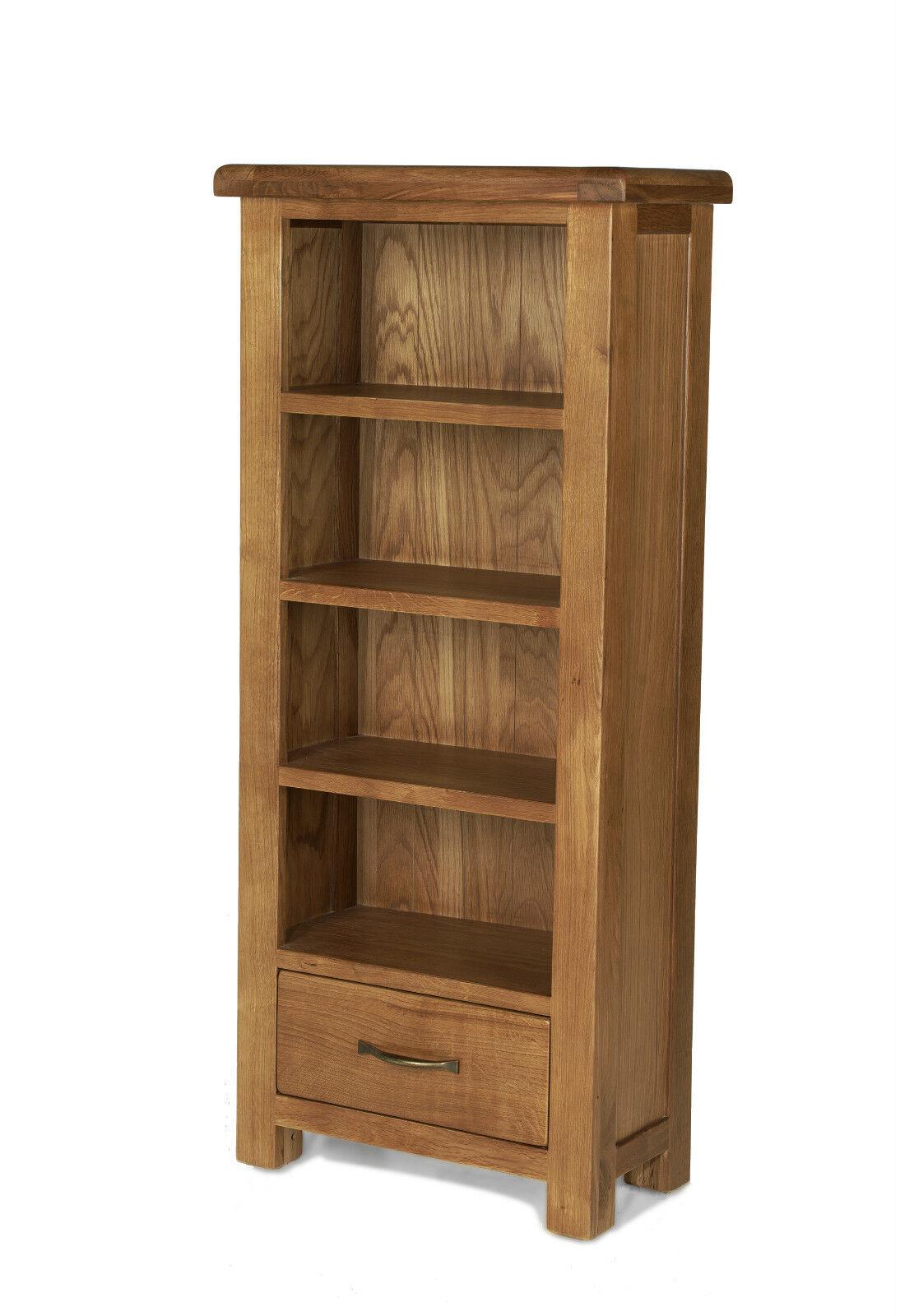 Earlsbury Solid Chunky Wood Rustic Oak Narrow Open Bookcase Cd Dvd