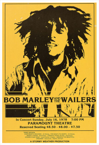 Bob Marley and the Wailers 1978 concert poster print