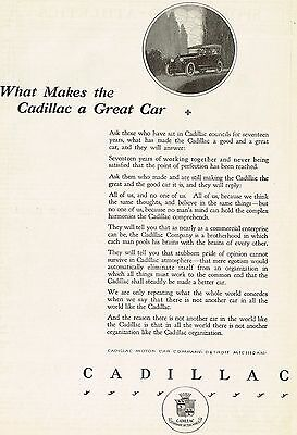 1920 Original Old Vintage Cadillac Motor Car Co. Automobile Art Print Ad a