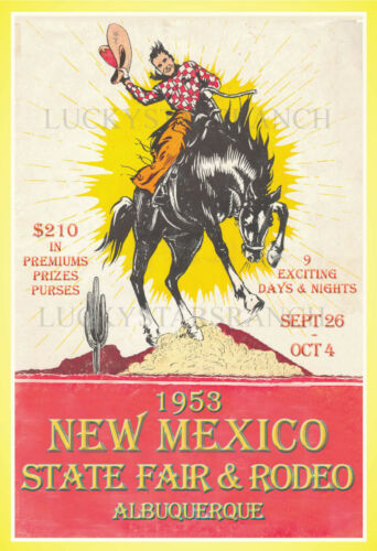 1953 New Mexico State Fair & Rodeo -  VINTAGE-  RODEO POSTER