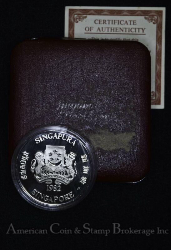 Singapore $10 Dollars 1982 Proof silver KM#23a In Original Case W/ COA