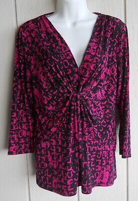 3/4 Sleeve Empire Waist Top (Womens M Chaus Pullover V-Neck Stretchy 3/4 sleeve Empire Waist Top Bust)