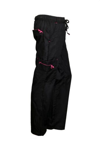 Womens Black Nursing 7 Pocket Scrub Pants with Elastic Waist