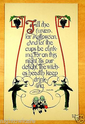 HALLOWEEN TOAST The Witches Health Keep Drinking rare Nash H-9 Antique - Toasts Halloween