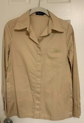 Authentic Vintage Gucci 90's Women Dress Shirt Buttonless Collar Tan Size38