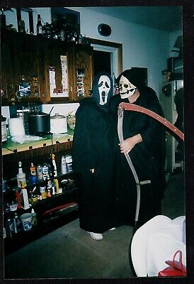Vintage Photograph Two People in Halloween Costumes - Scream & Grim Reaper](Halloween Two People Costumes)