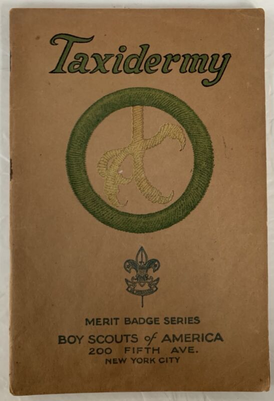 Boy Scout Merit Badge Book Brown Cover Type 3 Taxidermy
