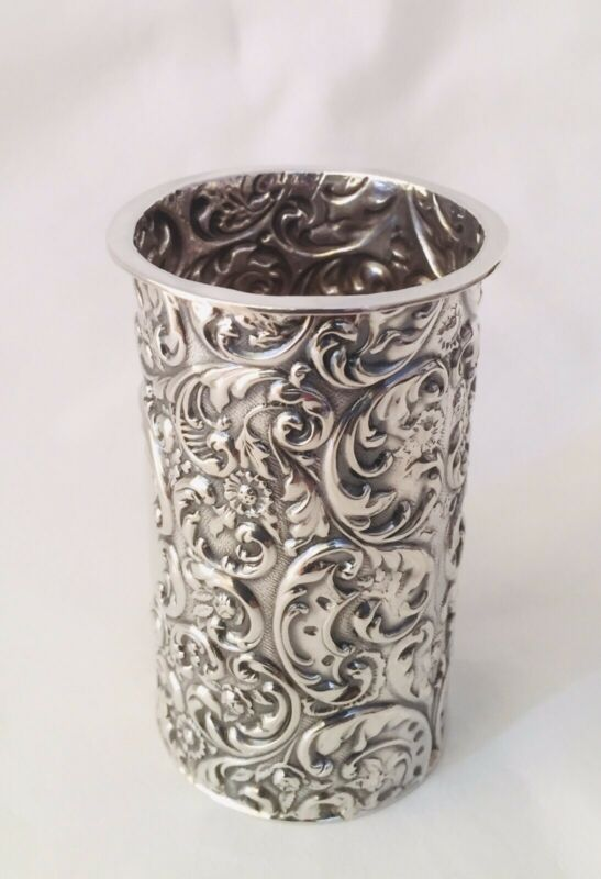 Antique Edwardian Solid Sterling Silver Repousse Spill Holder, Sheffield, 1902.