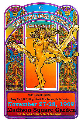 Mick Jagger & The Rolling Stones at Madison Square Garden Concert Poster 1969
