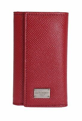 NEW DOLCE & GABBANA Red Leather Wallet Case Mens Finder Chain Keyring
