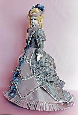 "16""ANTIQUE FRENCH FASHION LADY DOLL@1880 BUSTLE DRESS/FICHU&UNDIES&HAT PATTERN"