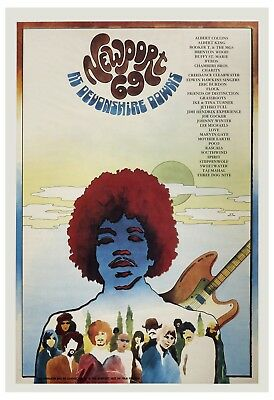 Classic Rock: Jimi Hendrix at Newport 69 at Devonshire Downs Concert Poster 1969