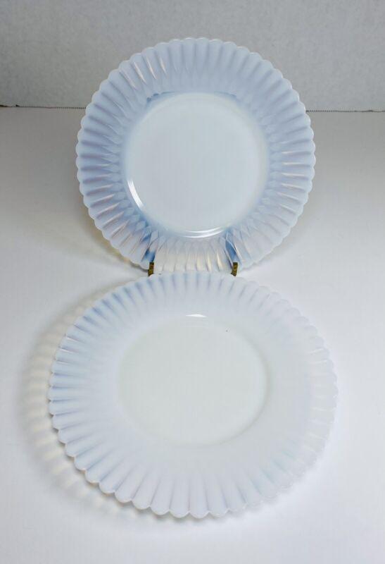 2~MacBeth-Evans Monax White Petalware Bread & Butter Plates Opaque Flower Shape