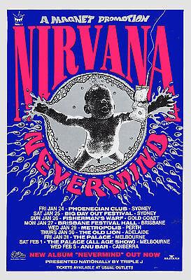 1990's: Kurt Cobain & Nirvana * Never Mind * Australian Tour Poster 1992 13x19