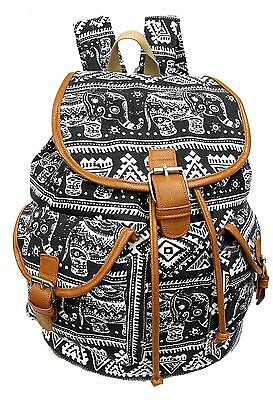 Canvas Leather Backpacks (Large Canvas Backpack Leather Trim Drawstring Closure Padded Strap -ELEPHANTS    )