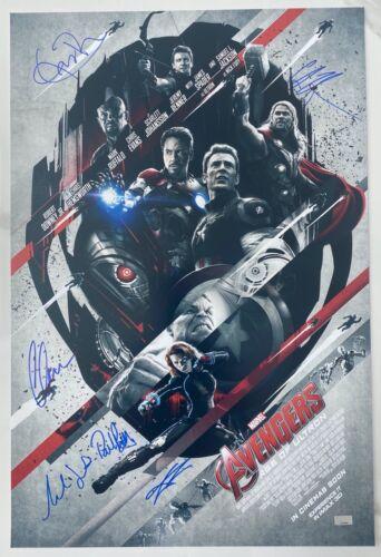 Celebrity Authentics Avengers Ultron Cast Signed 16x24 Poster Evans Hemsworth +4