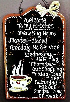 COFFEE CUP Kitchen Operating Hours SIGN Wall Art Hanger Hanging Plaque Decor ()