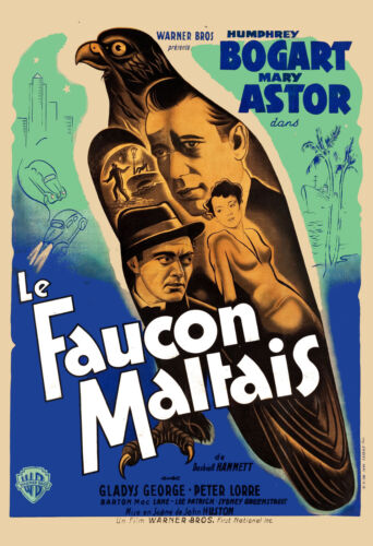 Film Noir: Humphrey Bogart in * The Maltese Falcon * FRENCH Movie Poster 24x36