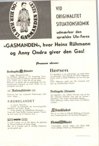 Der Gasmann Heinz Rühmann, Anny Ondra 1941 1 Page Danish Movie Press Release