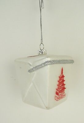 NEW Glass White Chinese Fast Food Take Out Box Holiday Christmas Tree Ornament