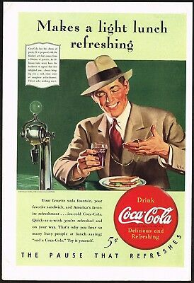 1940s Original Vintage Coca Cola Man At Soda Fountain Suit Fashion Art Print Ad