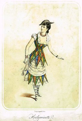 """Woman's Costume  - """"ARLEQUINETTE"""" - Hand-Colored Lithograph - c1830"""