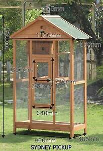 LARGE WOODEN BREEDING BIRD CAGE FIR WOOD PARROT AVIARY BUDGIE Auburn Auburn Area Preview