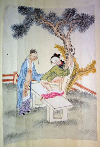 19C Chinese Erotic Pillow Color Paintings for Newly Married Couple (SoM)#2
