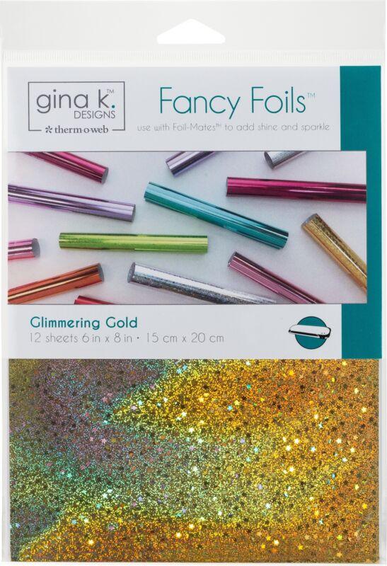"""Gina K Designs Fancy Foil 6""""X8"""" 12/Pkg-Glimmering Gold - 2 Pack"""