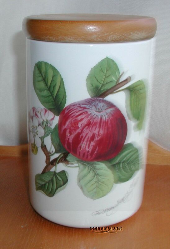 """PORTMEIRION POMONA CHINA ENGLAND 6 1/2"""" CANISTER WITH LID APPLE"""