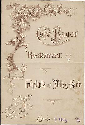 Antiquität Speisenkarte Leipzig Cafe Bauer 1892 Original rar